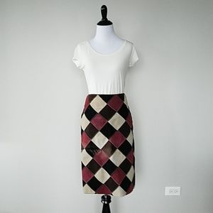 Vintage suede color block leather skirt